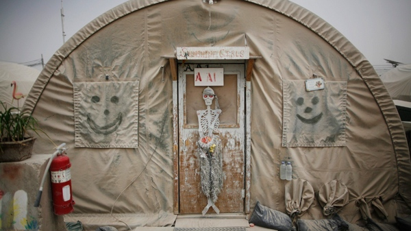 In this photo taken Sunday, Aug. 1, 2010 a dusty tent is seen that houses Canadian troops on Kandahar Airfield, Afghanistan. (AP / Rodrigo Abd)