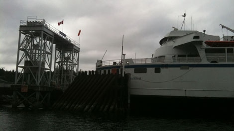 BC Ferries' ship Queen of Nanaimo crashed into the dock at the Village Bay terminal on Mayne Island on August 3, 2010. (CTV)