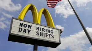 A sign advertising job openings is shown outside a McDonalds restaurant in Chesterland, Ohio, May 2, 2012. (AP / Amy Sancetta)