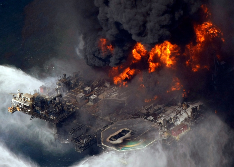 The Deepwater Horizon oil rig is seen burning April 21, 2010. (AP / Gerald Herbert)