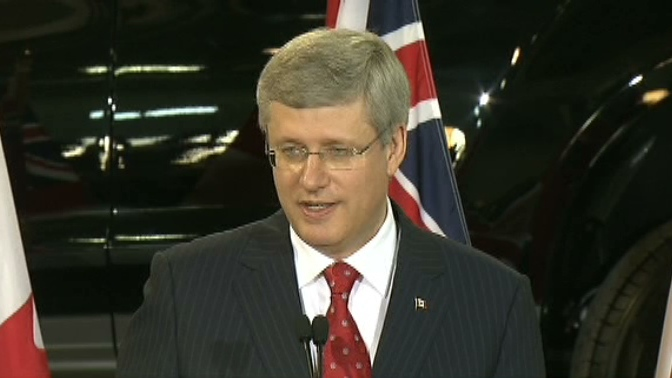 Prime Minister Stephen Harper speaking at the GM plant in Oshawa, Ont, Tuesday, July 24, 2012.