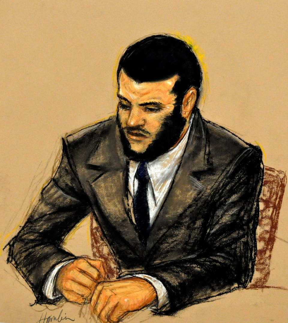 In this photo of a sketch by courtroom artist Janet Hamlin and reviewed by the U.S. Department of Defense, Canadian detainee Omar Khadr listens to testimony in Camp Justice, in Guantanamo Bay U.S. Naval Base, Cuba, Sunday Oct. 31, 2010. (AP / Janet Hamlin, Pool)