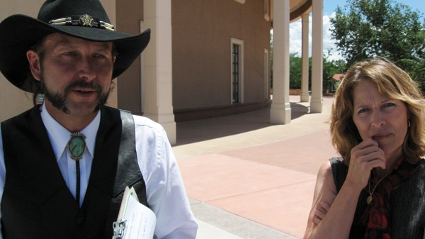 Jarvis Patrick Garrett, left, and his sister Susannah Garrett, descendants of frontier lawman Pat Garrett, answer questions outside the State Capitol in Santa Fe, N.M., on Wednesday, Aug. 4, 2010, after meeting with Gov. Bill Richardson about their opposition to the idea of posthumously pardoning outlaw Billy the Kid. (AP / Barry Massey)