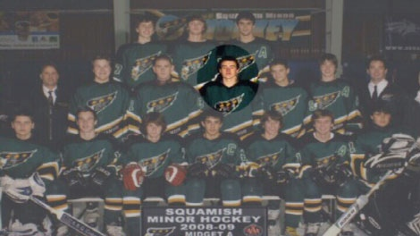 Dan Savage is shown with the Squamish Eagles hockey team. He died after falling into a gravel pit on Aug. 3, 2010.