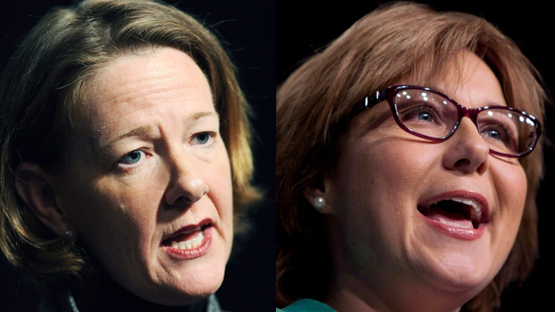Alberta Premier Alison Redford and British Columbia Premier Christy Clark are seen in this combined image. (Larry MacDougal / Jonathan Hayward / THE CANADIAN PRESS)