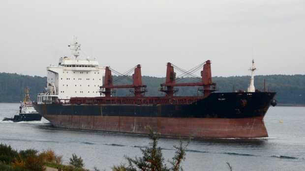 A vessel operated by Islamic Republic of Iran Shipping Lines on river Trave, Germany in Oct., 2008.