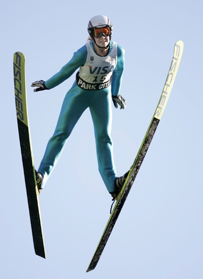 Canada's Katie Willis sails in the K90 jump during the International Women's Ski Jumping Festival at the Utah Olympic Park in Park City on on Friday, July 21, 2006. (AP / Douglas C. Pizac)