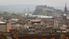 A general view of the city of Edinburgh, with Edinburgh Castle in the background.