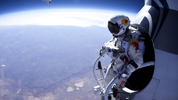 In this Thursday, March 15, 2012 photo provided by Red Bull Stratos, Felix Baumgartner prepares to jump during the first manned test flight for Red Bull Stratos over Roswell, N.M. (AP Photo/Red Bull Stratos, Jay Nemeth)