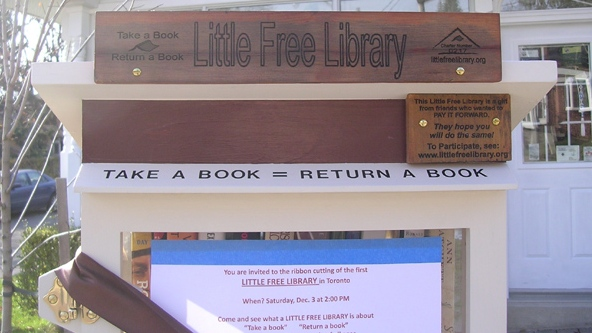 The top of Bill Wrigley's Little Free Library is shown at 304 Lee Avenue in Toronto's East Beaches neighbourhood. (Courtesy of Bill Wrigley)