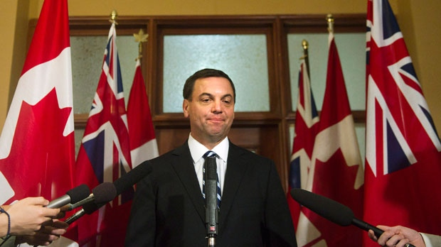 Ontario Conservative leader Tim Hudak speaks to the media at a press conference on Wednesday, June 20, 2012. (The Canadian Press/Nathan Denette)