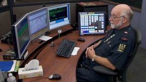 A Toronto EMS dispatcher is shown at work in this undated photo.