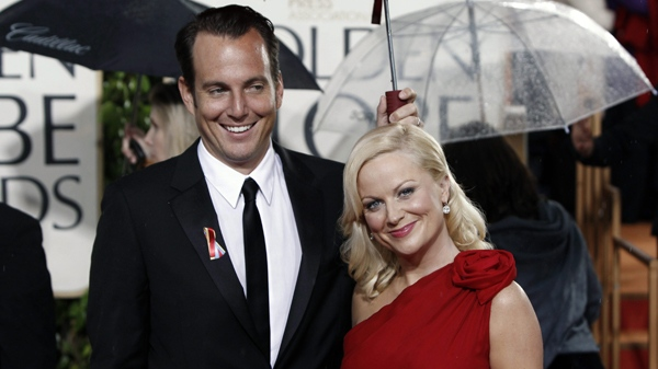 Will Arnett and Amy Poehler arrive at the 67th Annual Golden Globe Awards on Saturday, Jan. 17, 2010, in Beverly Hills, Calif. (AP / Matt Sayles)