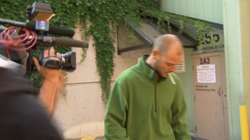 Brian Whitlock leaves Vancouver provincial court after being released from custody. July 26, 2012. (CTV)