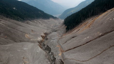 Pictured from the top of the mountain looking down to the valley, water and mud flows down the debris field after a landslide occurred near Meager Creek Hot Springs north of Pemberton, B.C., on Friday August 6, 2010. (CP/Darryl Dyck)