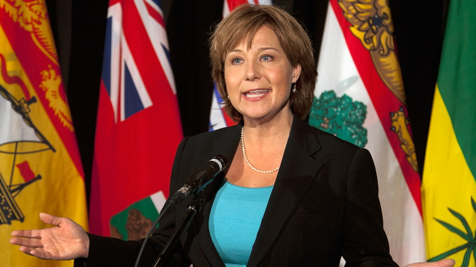 British Columbia Premier Christy Clark fields questions about a national energy strategy at the annual Council of the Federation meeting in Halifax on Friday, July 27, 2012. (Andrew Vaughan / THE CANADIAN PRESS)
