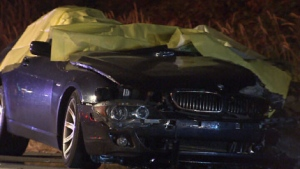 Three people were killed and a fourth seriously injured in a crash on Highway One in Surrey, B.C., on Aug. 6, 2010. (CTV)