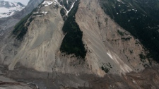 A portion of a glacier, top, is visible as mud and water continue to flow down a mountain after a landslide occurred near Meager Creek Hot Springs north of Pemberton, B.C., on Friday August 6, 2010. (CP/Darryl Dyck)