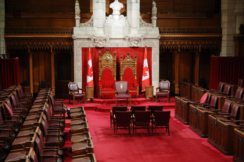 The Senate Chamber sits empty shortly before the 2011 Throne Speech on Parliament Hill in Ottawa. (Sean Kilpatrick / The Canadian Press)