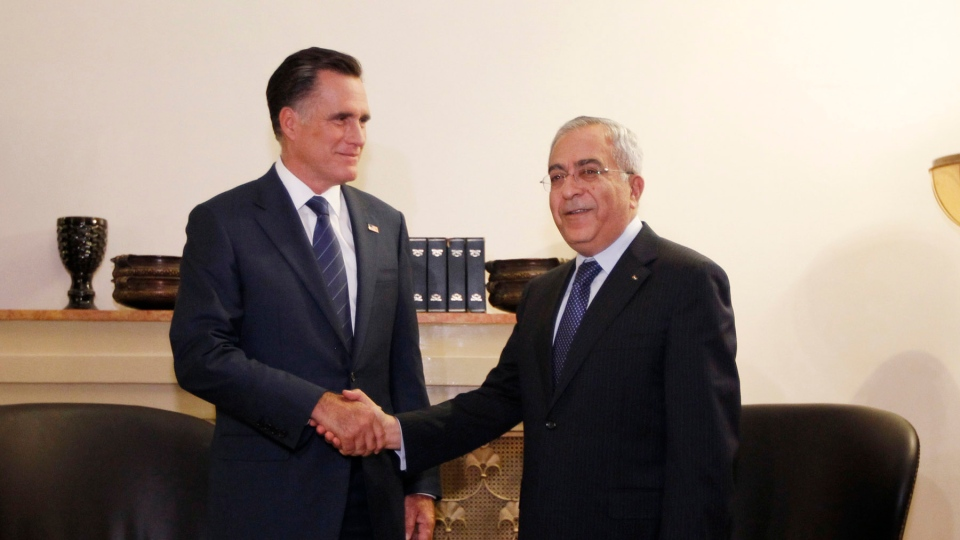 Republican presidential candidate and former Massachusetts Gov. Mitt Romney meets with Palestinian Prime Minister Salam Fayyad in Jerusalem, Sunday, July 29, 2012. (AP / Charles Dharapak)