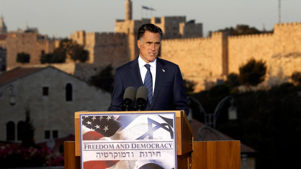 Republican presidential candidate and former Massachusetts Gov. Mitt Romney delivers a speech in Jerusalem, Sunday, July 29, 2012. (AP / Charles Dharapak)