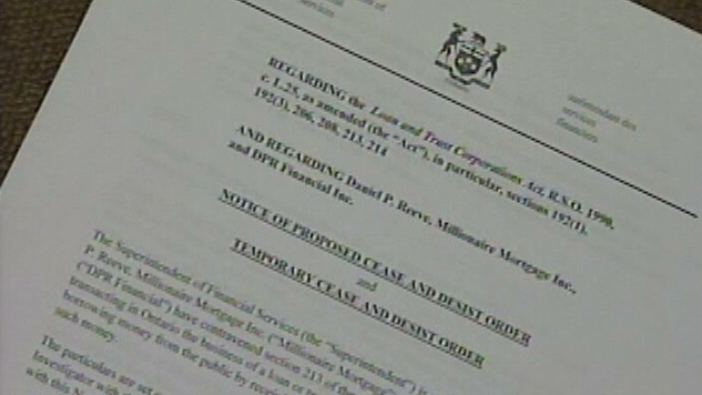 The Financial Services Commission of Ontario issued a cease and desist order against Daniel P. Reeve in 2009.