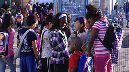 More than 400 students at St. Catherine School located near 109 Ave. and 110 St. are back in class Monday after a shortened summer break.