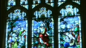 In this undated file photo, a stained glass window is pictured.