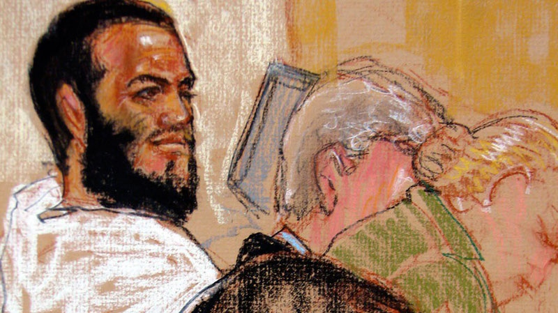 In this photo of a sketch by courtroom artist Janet Hamlin and reviewed by a U.S. Department of Defense official, Canadian defendant Omar Khadr, top left, attends his pretrial hearing in the courthouse for the U.S. military war crimes commission at the Camp Justice compound on Guantanamo Bay U.S. Naval Base in Cuba, Monday, Aug. 9, 2010. (AP / Janet Hamlin)