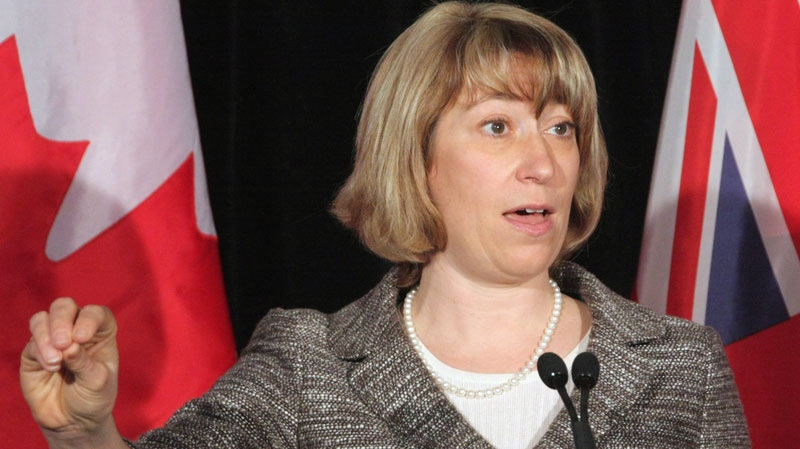 Ontario Education Minister Laurel Broten addresses a news conference in Toronto, Monday, April 9, 2012. (Colin Perkel / THE CANADIAN PRESS)