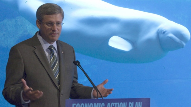 A beluga whale swims past Prime Minister Stephen Harper as he makes an announcement at the Vancouver Aquarium in Vancouver, Monday, August 9, 2010. (Jonathan Hayward / THE CANADIAN PRESS)