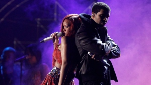 Rihanna, left, and Drake perform at the 53rd annual Grammy Awards on Sunday, Feb. 13, 2011, in Los Angeles. (AP Photo/Matt Sayles)