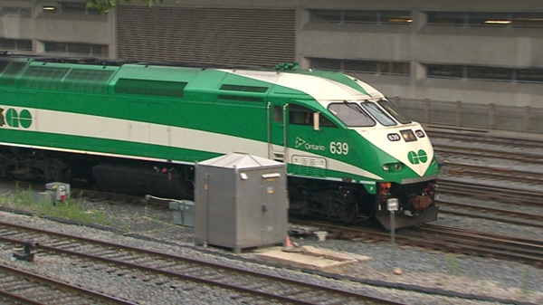 A GO train leaves Union Station in downtown Toronto, Monday, Aug. 9, 2010