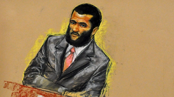 In this photo of a sketch by courtroom artist Janet Hamlin and reviewed by a U.S. Department of Defense official, Canadian detainee Omar Khadr attends jury selection at his war crimes trial Tuesday, Aug. 10, 2010. (Janet Hamlin for CTV)