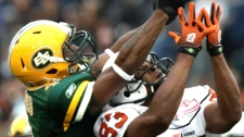Edmonton Eskimos' Jason Goss, left, breaks up a pass intended for B.C. Lions' Derick Armstrong during second half pre-season CFL action in Vancouver, B.C., on Sunday June 20, 2010. THE CANADIAN PRESS/Darryl Dyck