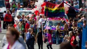 People take part in the Vancouver Pride Parade in Vancouver, B.C., on July 31, 2011. (Darryl Dyck / THE CANADIAN PRESS)