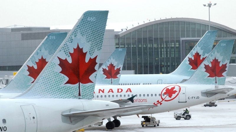 Air Canada planes are shown in this undated file photo.