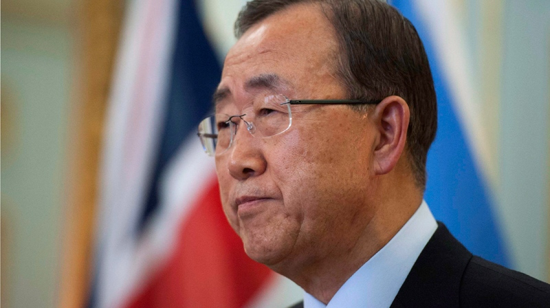 U.N. Secretary-General Ban Ki-moon speaks at a joint news conference with Britain's Foreign Secretary William Hague, not pictured, at the Foreign Secretary's official residence in London, on Friday July 27, 2012. (AP / Ki Price)