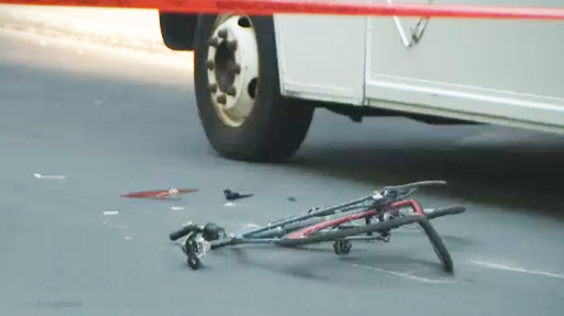 The bicycle was left in a crumpled heap following the collision.