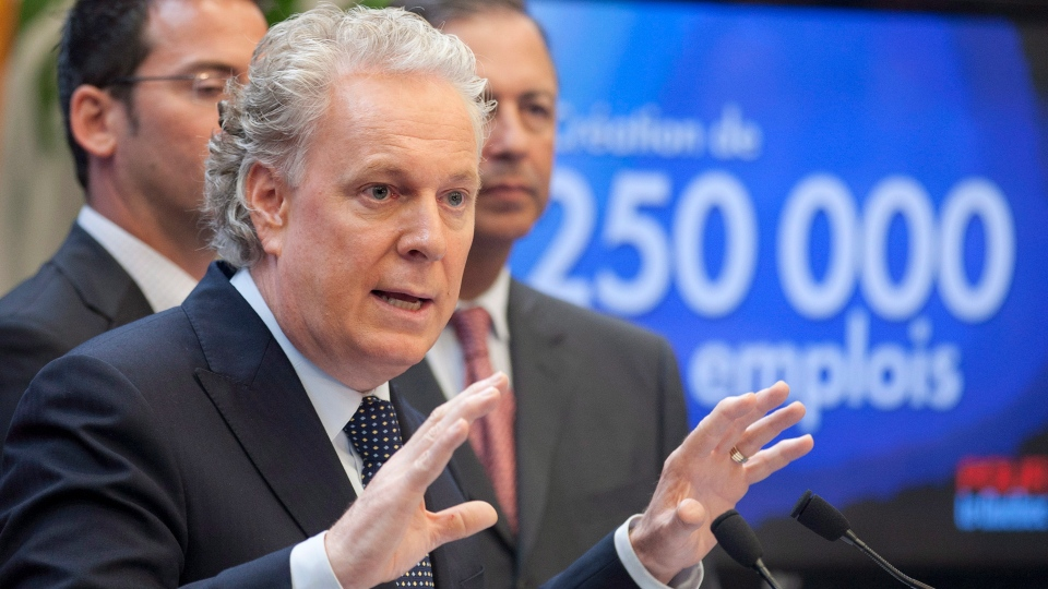 Quebec Liberal Leader Jean Charest announces his plan for job creation a news conference while campaigning in Quebec City, Thursday, August 2, 2012. (Jacques Boissinot / THE CANADIAN PRESS)