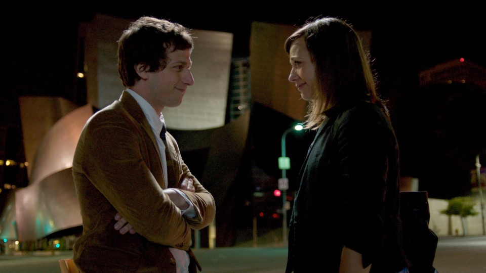 Andy Samberg as Jesse, left, and Rashida Jones as Celeste in a scene from