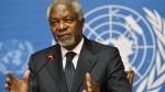 Kofi Annan, Joint Special Envoy of the United Nations and the Arab League for Syria, speaks during a press briefing, at the European headquarters of the United Nations, UN, in Geneva, Switzerland, Thursday Aug. 2, 2012. (AP / Keystone, Martial Trezzini)