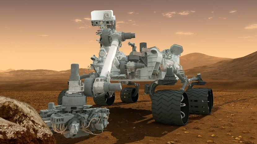 This artist's concept features NASA's Mars Science Laboratory Curiosity rover, a mobile robot for investigating Mars' past or present ability to sustain microbial life. (NASA / JPL-Caltech)