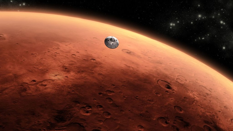 This is an artist's concept of NASA's Mars Science Laboratory spacecraft approaching Mars. (NASA/JPL-Caltech)