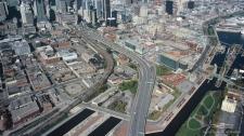 Ariel view of Bonaventure Expressway in 2005.  � Soci�t� du Havre de Montr�al, 2005