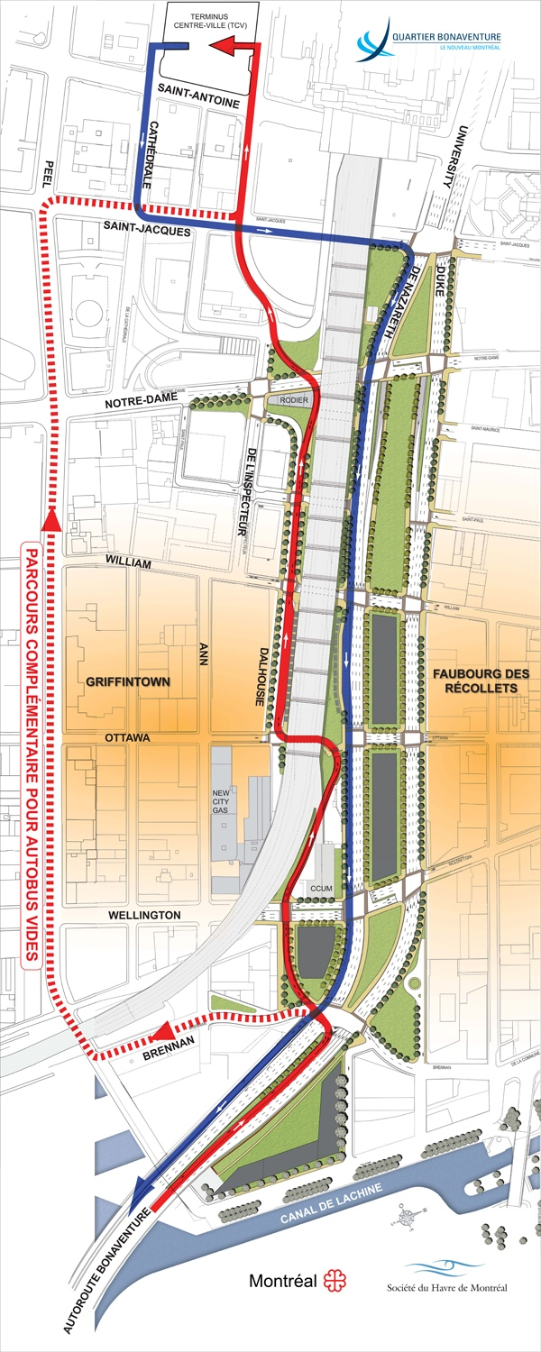 This map shows what the revised Bonaventure entrance to downtown will look like (August 12, 2010)