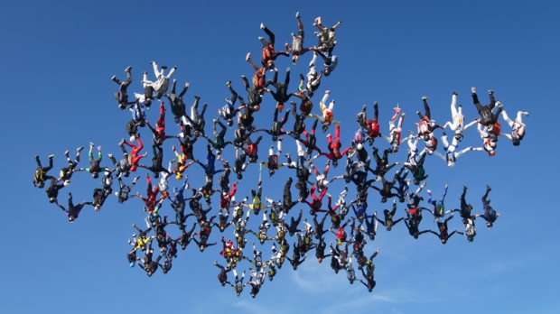 138 skydivers over Ottawa, Ill. on Aug. 3, 2012.