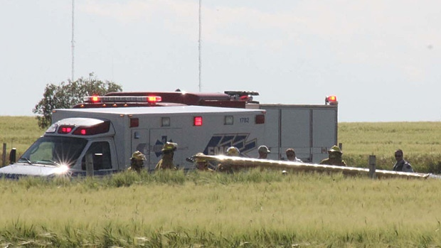 Emergency crews at the scene of a plane crash at Wetaskiwin Regional Airport. PHOTO: Wetaskiwin Times/QMI Agency.