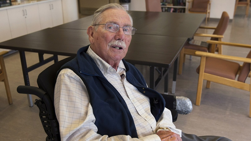 Jack Walsh, 84, a former member of the merchant marine, sits in a common room at Camp Hill Veterans Memorial hospital in Halifax on Friday, August 3, 2012. (THE CANADIAN PRESS/Andrew Vaughan)