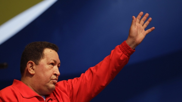 Venezuela's President Hugo Chavez waves to supporters in Caracas on Aug. 3, 2012.